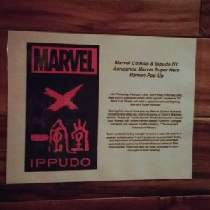 The announcement of the collaboration between Marvel and Ippudo!